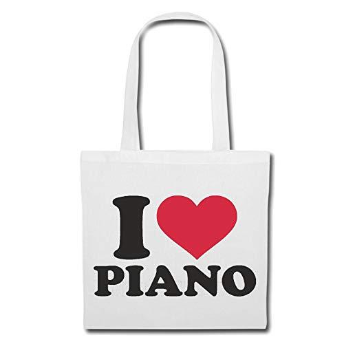 Tasche Umhängetasche I Love Piano - Klavier - KLAVIERSPIELER - Piano Spieler - FLÜGEL Einkaufstasche Schulbeutel Turnbeutel in Weiß