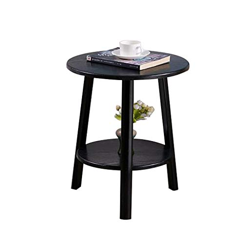 TLMY Mesa auxiliar pequeña redonda pequeña café moderno nórdico minimalista sofá esquinero balcón mesita de noche muebles de madera (43 x 60 cm) mesa plegable (color: negro)