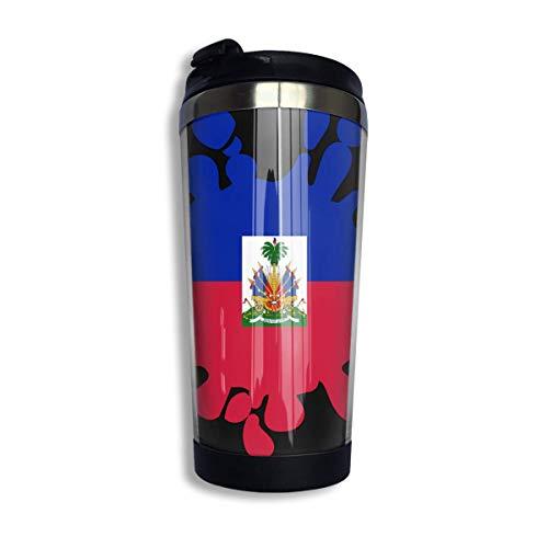 Haiti Flag Paint Splash Kaffeetasse mit Deckel für Tee Kaffee Reisebecher Edelstahl 400 ml