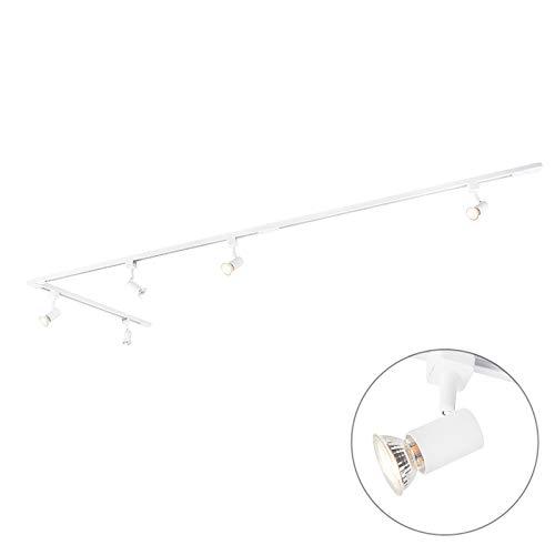 QAZQA Modern Modernes Schienensystem/Spotlight/Deckenspot/Deckenstrahler/Strahler mit 5-flammig Spot/Spotlight/Deckenspot/Deckenstrahler/Strahler/Lampe/Leuchtes 1-phasig weiß - Jea
