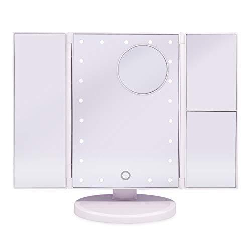 BXU-BG Tri-Fold Espejo de baño, 21 Encendido LED con Pantalla táctil 1X / 2X / 3X magnificación y de Carga USB Ajustable de Brillo y Soporte for el Maquillaje