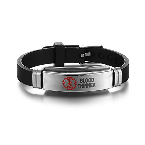17 Styles Stainless Steel Silicone Emergency Jewelry Gifts Medical Alert Bracelets Epilepsy Alzheimer'S Diabetes Bangles(5)