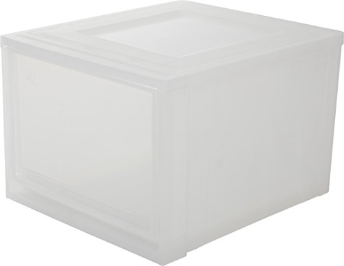 Marca Amazon - Iris Ohyama MD-L - Cajón apilable (plástico, 45 x 39 x 29,3 cm), color blanco