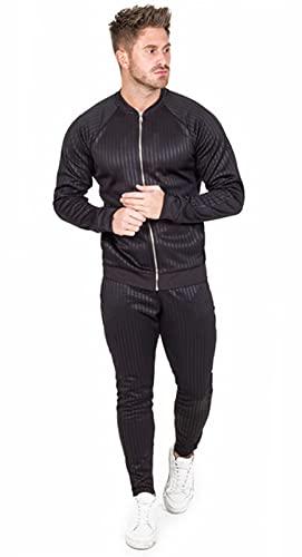 XJIANQI Hombres Completos Trajes Completos Jogging Botters Gym Zipper Sweat Trajes Soporte Collar Chaqueta Y Pantalones Deportivos Black-XL