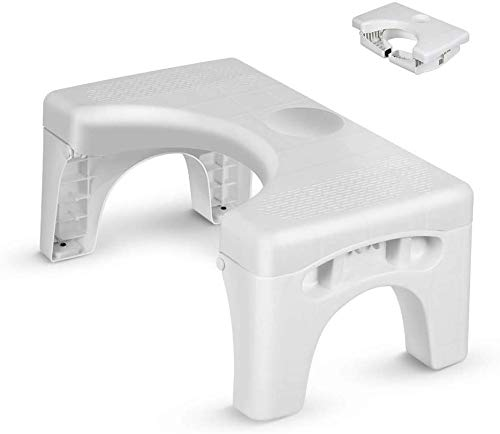 Folding Toilet Stool, Enow Multi-Function Foldable 7' Height Squatting Toilet Step Stool, Convenient and Compact Squatting Stool, Creative Non-Slip Toilet Seat Footstool, Fit for All Toilets