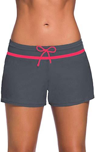 Lixada Zwemshorts voor dames, korte zwembroek, UV-bescherming, verstelbare zwembroek met trekkoord voor dames, met korte voering, sneldrogend, zwemshorts