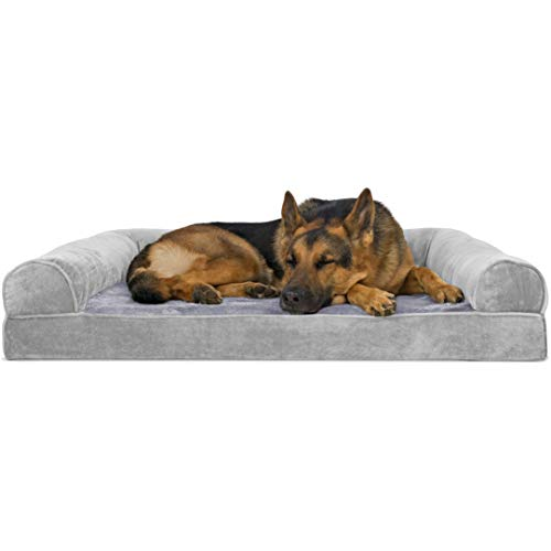 Furhaven Pet Dog Bed | Orthopedic Faux Fleece & Chenille Sofa-Style Couch Pet Bed for Dogs & Cats, Smoke Gray, Jumbo