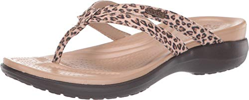 Crocs Capri Strappy Flip Flops | Sandals for Women, Leopard/Espresso, 7