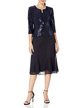 Alex Evenings Women s Tea Length Mock Dress with Sequin Jacket  Petite and Regular Sizes  Navy 12P