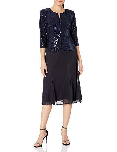 Alex Evenings Women's Plus Size Tea Length Button-Front Jacket Dress, Navy, 18W