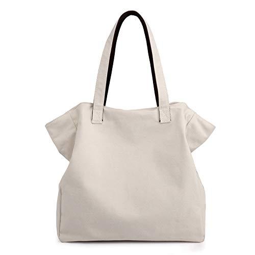 XLJJB Fashion Women'S Bag New Casual Canvas Bag Wild Large-Capacity Shoulder Bag Women'S Handbag Off- White
