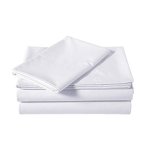 AmazonBasics Lightweight Percale Cotton Sheet Set - Twin XL, White