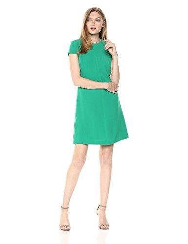 Adrianna Papell Damen Textured Crepe LACE Trimmed Shift Dress Kleid, smaragdgrün, 32