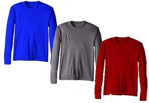 Kit com 3 Camisetas Proteção Solar Uv 50 Ice Tecido Gelado – Slim Fitness – Royal - Vinho - Cinza – G