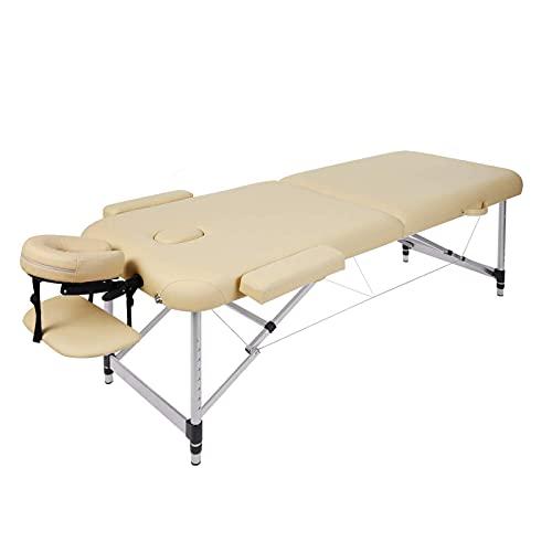 Camilla de masaje, cama de masaje, plegable, altura regulable, portátil, con 2 zonas, patas de aluminio, para masajes en casa, salón de belleza, estudio de masaje (hasta 250 kg), 213 x 90 cm