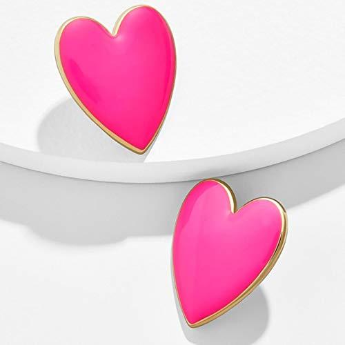 AQUALITYS Cute Fashion Black White Pink Yellow Enamel Heart Stud Earrings For Women Large Size All Match Love Heart Earrings-Pink