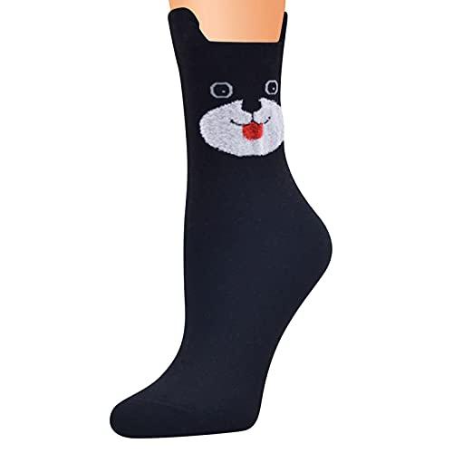 Calcetines coloridos para mujer, de algodón, con diseño de gato, calcetines para casa, calcetines térmicos, calcetines de invierno, calcetines de cama