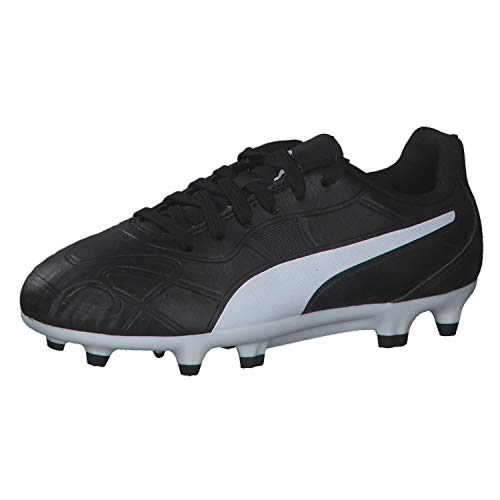 PUMA Unisex Monarch FG Jr Botas de fútbol, Black White, 38 EU