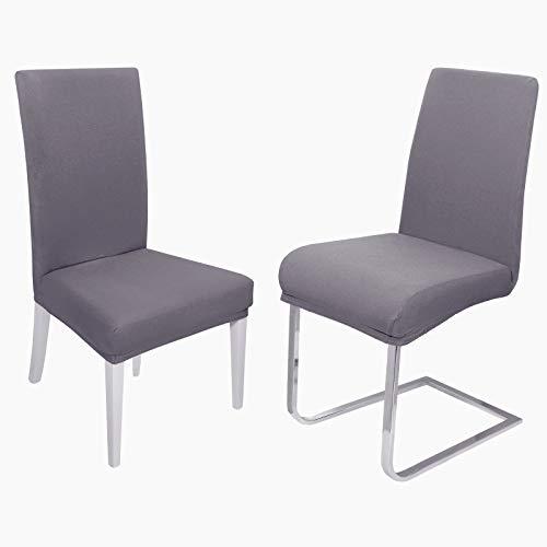 DecoHomeTextil Universal Stretch Uni Stuhlhusse Stuhlhussen Husse Hussen 4er Set Grau Farbe und Set Größe wählbar Stuhlbezug Stuhlüberzug Elastisch