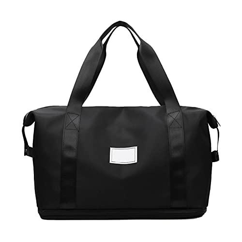 DSFSAEG Bolsa de deporte para gimnasio con bolsillo húmedo y compartimento para zapatos, tela Oxford de gran capacidad, bolsa de viaje para hombres y mujeres, ligera (negro)
