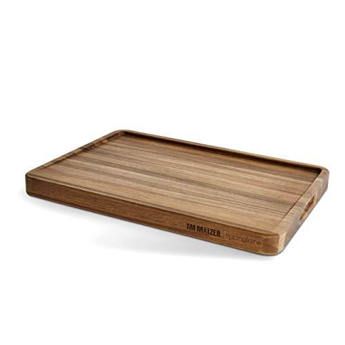 Tim Mälzer planche à découper en bois d'acacia avec rainure à jus et poignées encastrées, planche en bois, planche de cuisine - 52 x 38 x 4 cm