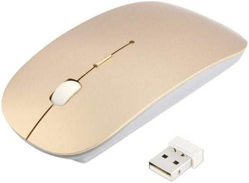 Cali Accessories Mouse Ultra Thin USB Optical Wireless 2.4G Receiver Super Slim for Computer PC (Gold)