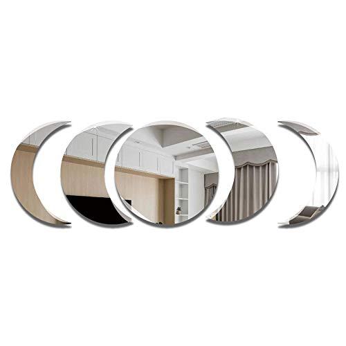 ATFUNSHOP Juego de pegatinas de pared con diseño de luna y luna para colgar, 5 unidades, para decoración de pared, sala de estar, dormitorio, apartamento