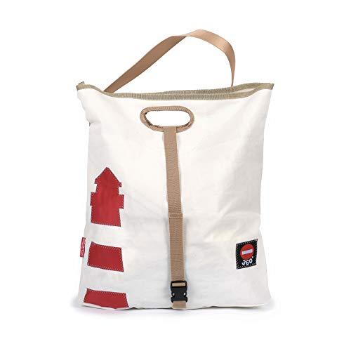 360° Tender Freizeittasche aus Segeltuch mit Schultergurt, Recycling Seesack Shopper Bag, Schultertasche Hobo Bag für Shopping und Strand, Weiß mit Leuchtturm rot