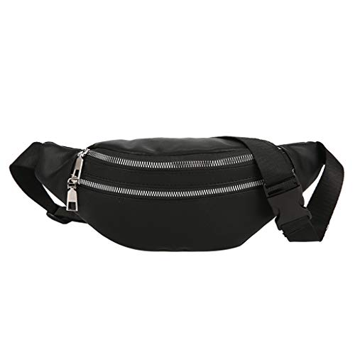 VJGOAL Damen Bauchtasche, Damen Mode Bling Pailletten Zip Party Strand Schulter Messenger Cross Chest Bag Clutch (X-Double Zipper-Schwarz)