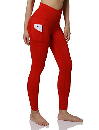 ODODOS Women's High Waisted Yoga Pants with Pocket, Workout Sports Running Athletic Pants with Pocket, Full-Length,Red,Small