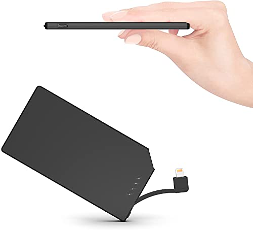 TNTOR 5000mAh Ultra Slim Power Bank mit Eingebautes Ladekabel[FürApple], nur 6mm Tragbar Externe Akkus.(für iPhone Version)