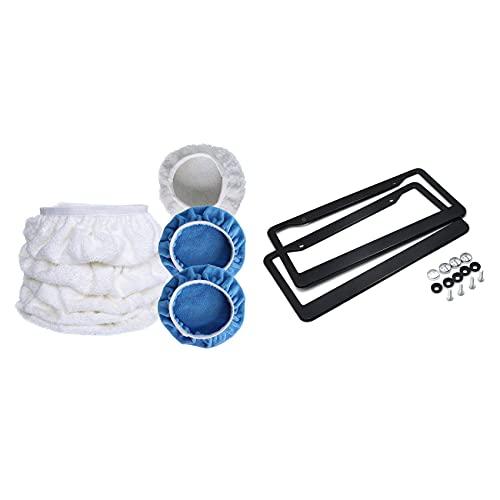 Timagebreze 7 Pcs Car Polisher Pad Bonnet Polishing Hood Cover & 1 Set 2 Holes License Plate Frame Tag Cover Screw Caps