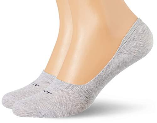GANT Herren 2 Pack SOLID Invisible Socks, Light Grey Melange, OneSize