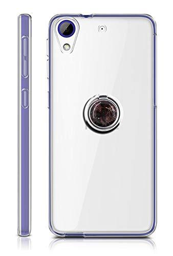 Sunrive Für HTC Desire 650/628 / 626 / 626G Hülle Silikon, Transparent Handyhülle 360°drehbarer Ständer Ring Fingerhalter Fingerhalterung Schutzhülle Etui Case(Schwarzer Marmor) MEHRWEG