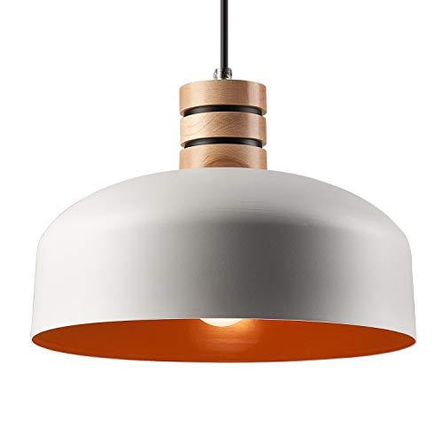 Pendel-Leuchte Decken-Leuchte aus Metall/Holz E27 Hänge-Leuchte (Farbe: Weiss/Orange) Vintage Industrieleuchte Wohnzimmerlampe Modern Wohnzimmer mit Kabel Vintagelampe für Wohnzimmer/Küche/Büro
