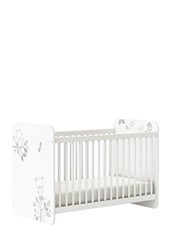 Babybett Kinderbett Gitterbett Motiv Bär 304802 weiß 60x120 cm