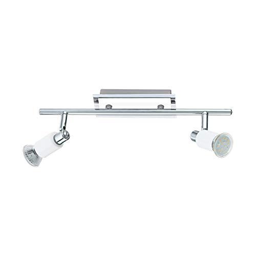 Eglo 90833 Eridan - Lámpara de techo y pared (acero, incluye 2 bombillas GU10 de 3 W, 360 lm, 39 x 7 cm), color cromo y blanco