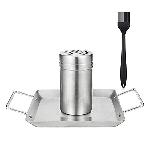 SH-RuiDu Soporte de pollo, de acero inoxidable para asador de pollo con bandeja de goteo para barbacoa al aire libre, camping