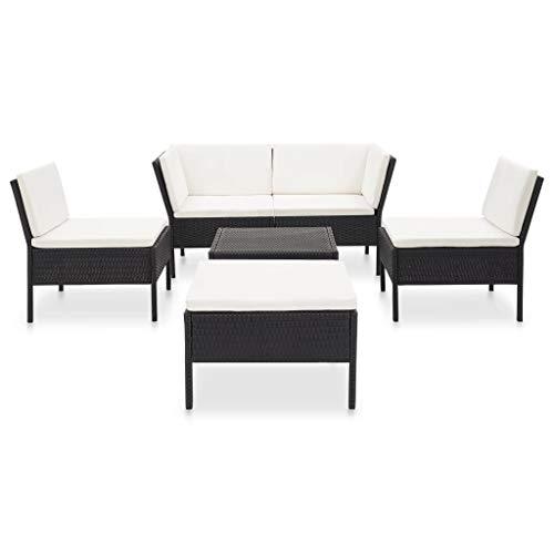 pedkit Set Muebles de Jardín Juego de Sofás para Patio 6 Piezas y Cojines Ratán Sintético Negro