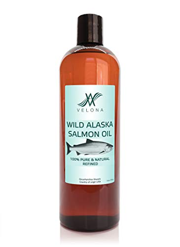 Wild Alaska Salmon Oil by Velona - 16 oz   100% Pure and Natural Carrier Oil   Refined, Cold pressed   Vitamin E, D, Omega-3   Cooking, Skin, Face, Body, Hair Care   Use Today - Enjoy Results