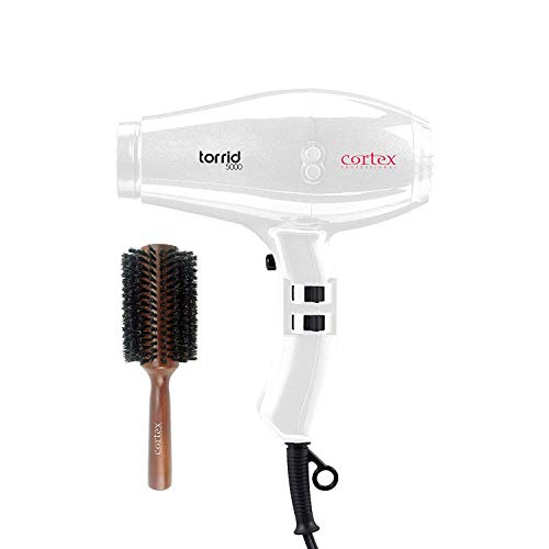 Cortex Professional Torrid 500 1875 Watt Professional Hair Dryer with 2 piece Nozzle 2.5 Inch Wood Boy Boar hair Brush Bundle (White)