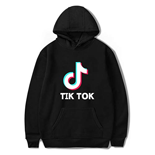PUUE Fashion Girl TIK Tok Round Necklace Hoodies Sweatshirt Jumper for Funs (Black, Medium)