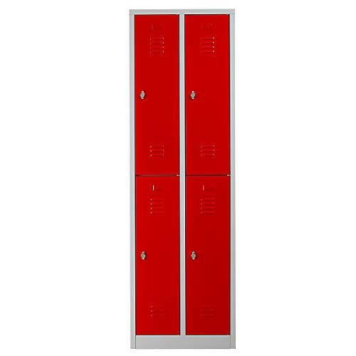 Certeo Garderobenspind | HxBxT 195 x 60 x 50 cm | Vorhängeschloss | Grau-Rot | Garderobenspind Umkleidespind Spind Schrank Abschließbar