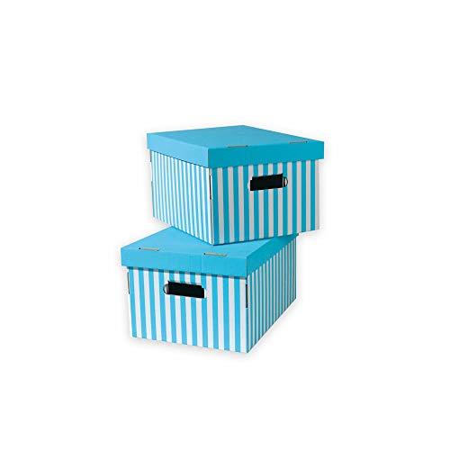 Rangement & Cie Set 2 Cajas DE Carton, Azul Turquesa