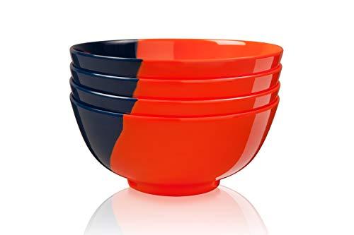 Thomas Fuchs Creative Schüsseln, 1/2 und 1/2 Melamin, Orange/Marineblau, 4 Stück