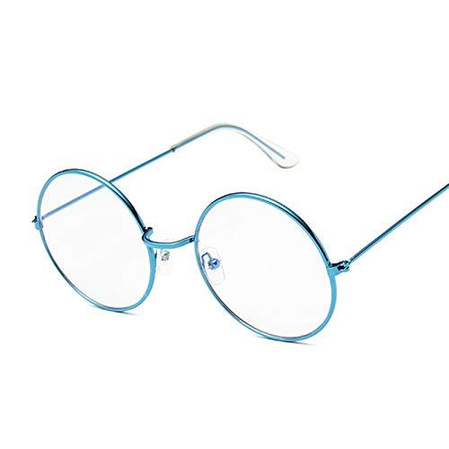 QYV Gafas de Lente Transparente Vintage de Moda para Mujer, Gafas con Montura de Metal Retro, Gafas Negras pequeñas, Redondas, Redondas y Circulares,Blue Trans