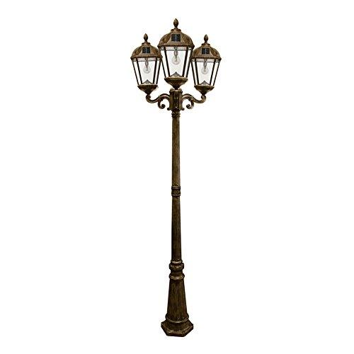 GAMA SONIC GS-98B Royal Bulb Collection, Outdoor-Solarleuchten, mit oder ohne Pfosten, warmweiße LED Triple Lamp and Post Bewitterte Bronze.