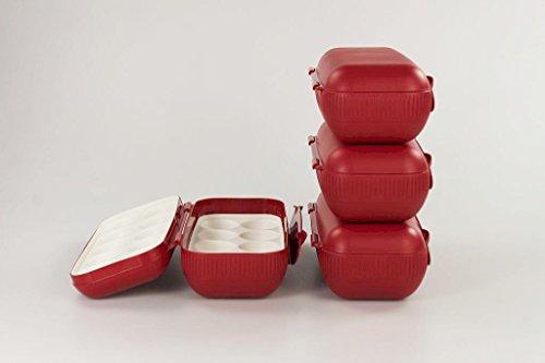 TUPPERWARE Kühlschrank Eierbox rot (4) Eier Box Aufbewahrung Dose Ei Kolumbus