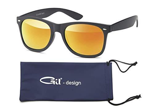GIL-Design Qualitative Nerd und Retro Vintage Unisex Sonnenbrille von Gil - Matt oder glänzend Klassik Design - Verspiegelt UV400 CE Kat 3 + Brillenbeutel (Orange/Rot (Bügel Matt))