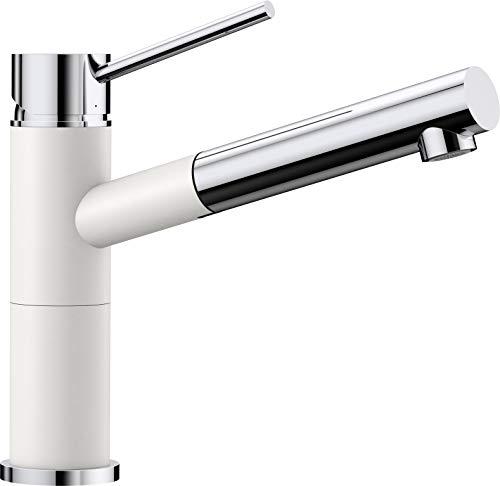 Blanco Alta-S Compact Küchenarmatur / Kompakter Einhebelmischer Silgranit-Look in Silgranitweiß-Chrom mit ausziehbarer Schlauchbrause / Hochdruck